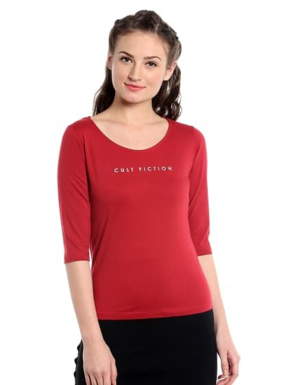255abe665029 Comfort fit 100% Cotton Fabric Maroon Scoop Neck T-Shirt For Women ...