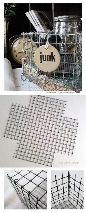 DIY wire basket tutorial - by Amy at Four Corners Design by aftr