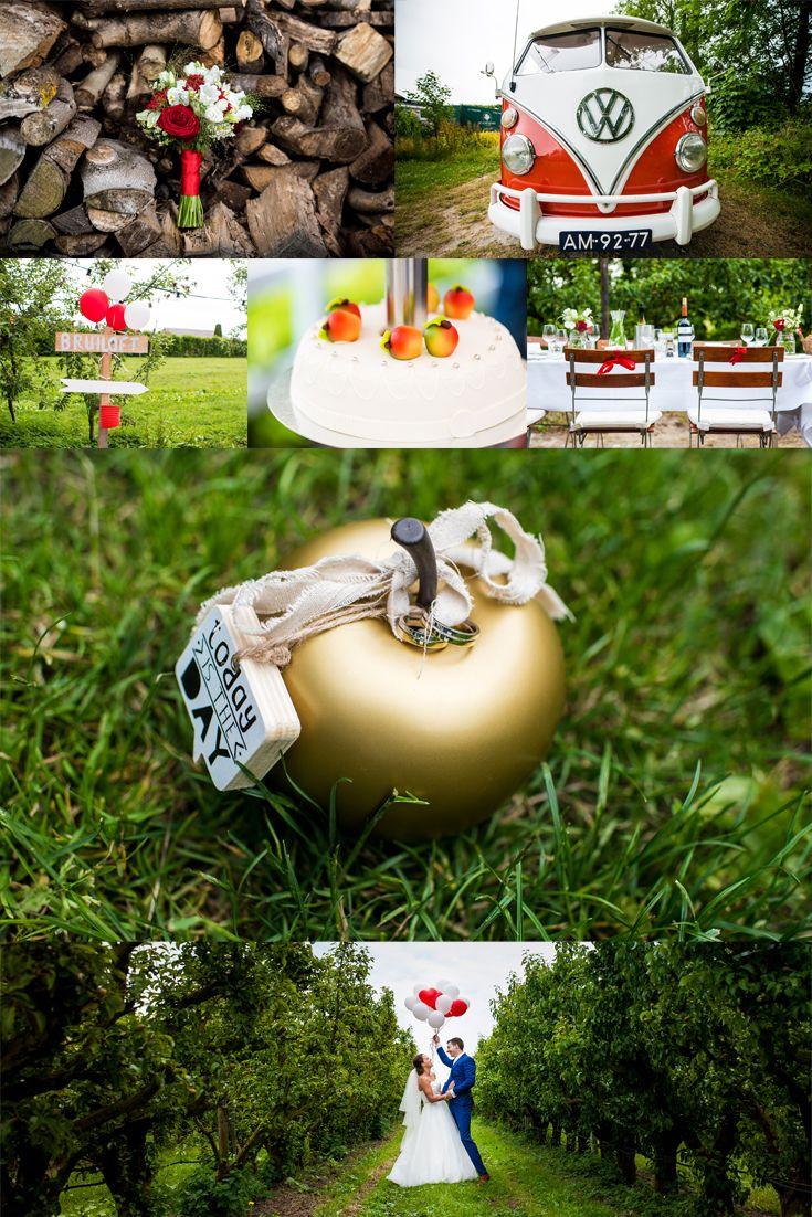 Bruiloft met appeltjes thema bij Landgoed de Olmenhorst. Tof met al die rode en witte details!  #appel #apple #wedding #theme #bruiloft #thema #olmenhorst #boomgaard #volkswagen #inspiratie #red #white #rood #wit