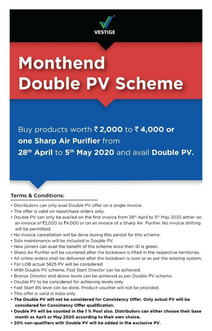 Vestige Double PV Scheme April 2020 in 2020 Vestige