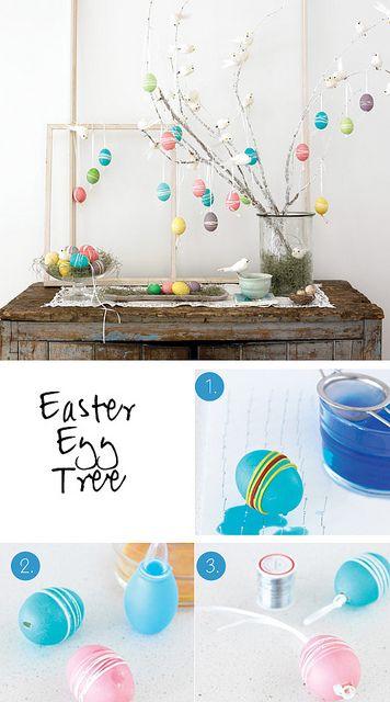 Pour #Paques, réaliser un arbre avec des œufs colorés pour étonner vos invités