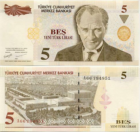 Turkey 5 Lira 2005    President Mustafa Kemal Atatürk; Anitkabir Mausoleum in Ankara.