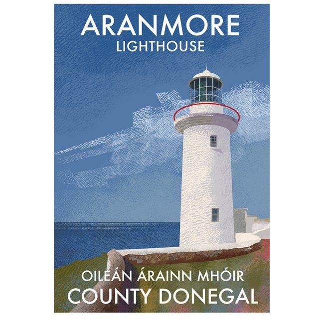 A4 (297 x 210mm) Print of Aranmore Lighthouse on Donegal's Atlantic coast. Printed 250g/m² art print paper Artist: Roger O'Reilly