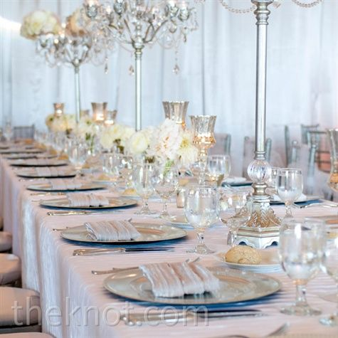 A row of crystal candelabras created a romantic yet contemporary vibe