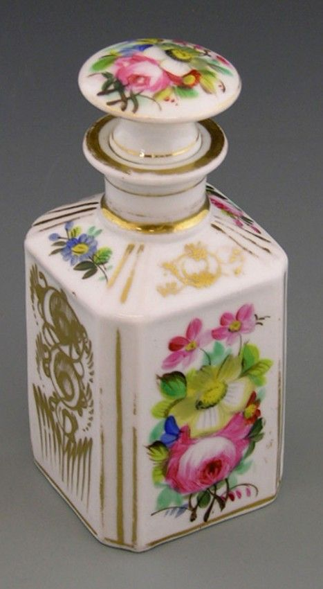 Old Paris Porcelain Perfume Bottle, c. 1850, the sides with canted edge sides with gilt and floral decoration
