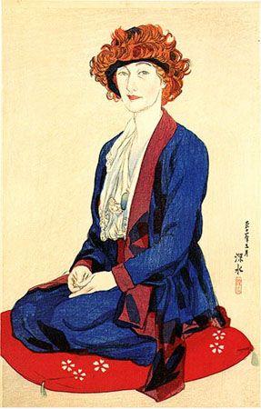 Portrait of Miss Elizabeth Keith  by Ito Shinsui, 1922  (published by Watanabe Shozaburo)
