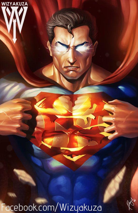 Superman es un ventilador de Yankees de Nueva York - DC Comics Crossover - 11 x 17 Digital Print