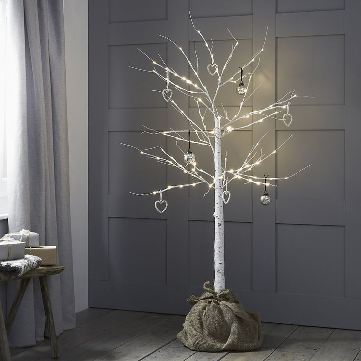 Silver Birch Tree with Hessian Base (Pre lit) | Christmas Room Decorations | Christmas Decorations | Christmas | The White Company UK
