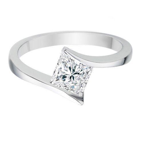 Diamond Manufacturers - Bague de fiancailles avec diamant Princesse Femme - Or blanc 750/1000 (18 cts) - Diamant 0.39 ct #Bague #Bagues #Or #Femme #Bijoux #Blanc #Fiancaille #Perle #Diamant #Mariage #Pierre #Saphir #Emeraude #Joaillerie #Fantaisie #Rubis Opale #Topaze #Anneau #Alliance