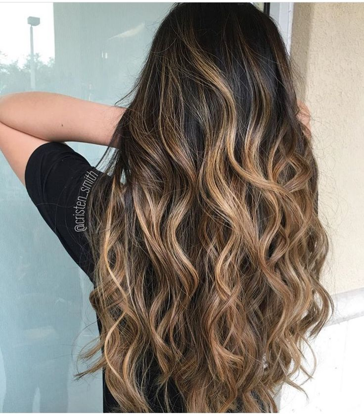 Ombre Black To Brown Wavy Long Curled Hair Beautiful Inspo Love This Look For Everyday Wear