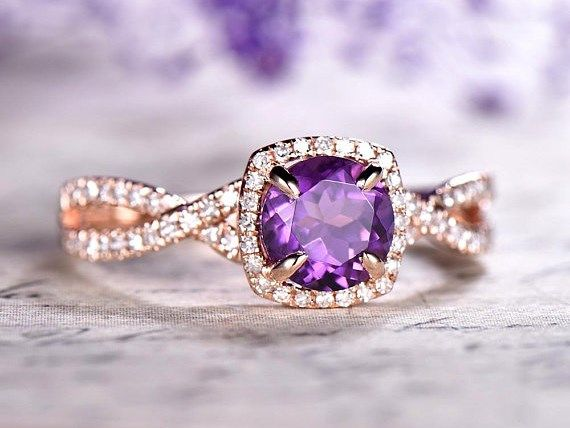 Dupuy Cushion Amethyst Engagement Ring Twisted Diamond Band In