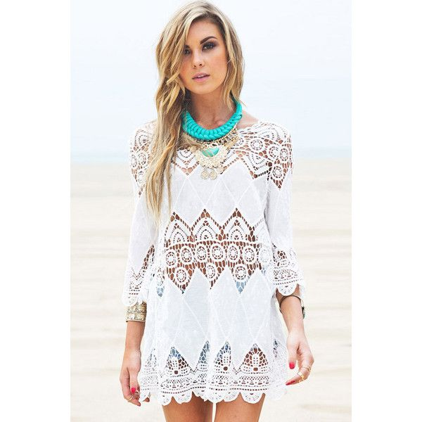 White Crochet Detail Boho Beach Cover Up (89 BRL) ❤ liked on Polyvore featuring swimwear, cover-ups, white, crochet swim cover up, crochet beach cover up, white beach cover up, white cover up and summer cover ups