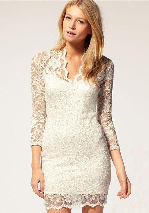 White Band Collar Seven's Sleeve Mini Lace Dress  Again better if black