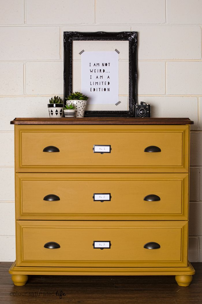 Painted with MMS Milk Paint in Mustard Seed Yellow, no distressing. Cup Pulls & Label Holders from D. Lawless Hardware.