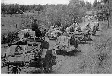 Karelian farmers evacuating