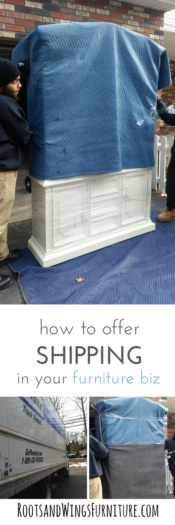 Learn how to ship furniture and to grow and increase your furniture flipping business.  The Complete Guide to Shipping Furniture eBook by Jenni of Roots and Wings Furniture.