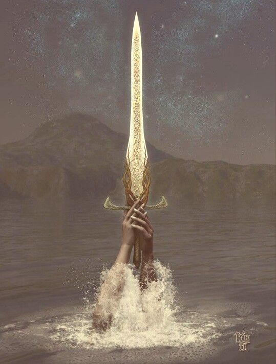 """Avalon Camelot King Arthur: """"Excalibur,"""" by *Erulian, at deviantART.  """"In those old days, one summer noon, an arm  Rose up from out the bosom of the lake,  Clothed in white samite, mystic, wonderful,  Holding the sword--and how I row'd across  And took it, and have worn it, like a king"""". ~  Lord Alfred Tennyson"""