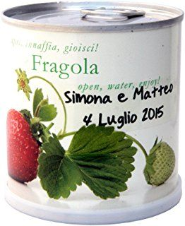 Bomboniere Naturali Personalizzate FRAGOLA Fiori in Lattina MACFLOWERS made in Germany cm 7,5x8 h