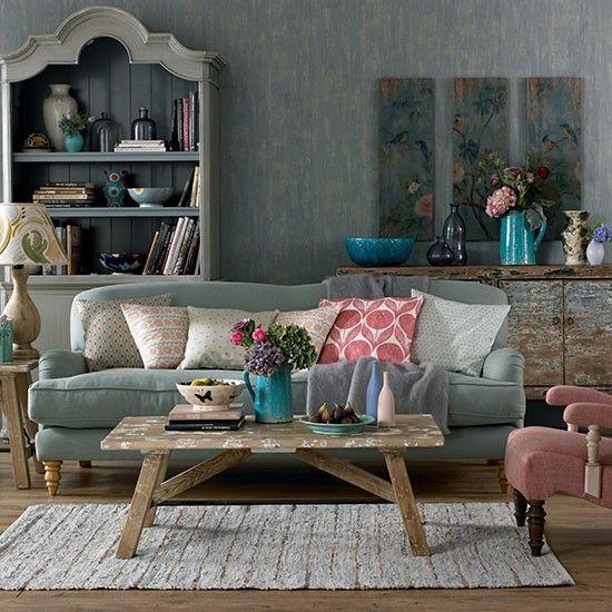 sala fofa decorada com cinza azul e rosa
