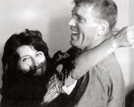 "Anna Magnani with Burt Lancaster, during the filming of ""The Rose Tattoo"""