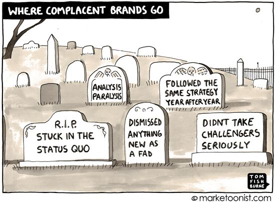 """""""Where Complacent Brands Go"""" - new cartoon and post on the status quo and opportunities for challenger brands http://tomfishburne.com/2013/03/where-complacent-brands-go.html"""