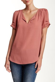 Daniel Rainn Pinch Short Sleeve Split Neck Blouse