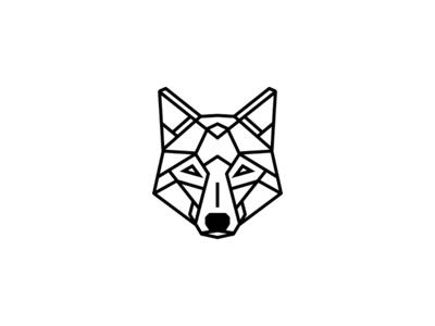 Simple geometric wolf tattoo design