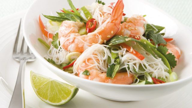Yummy seafood salads... Glass Noodles with Lime and Coriander Dressing