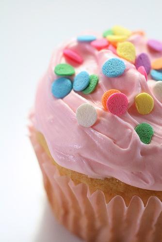 Pink sprinkle cupcake