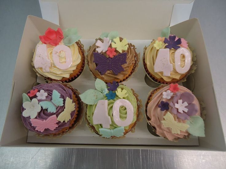 """We had a fab time making these surprise 40th birthday cupcakes!   """"Wow! On my lunch break at work and read your email and it's made my day! What excellent service and such beautiful cup cakes!  Thank you so much!   Kind regards Melanie.""""  #NationalCupcakeWeek  #cupcake #cake #birthday"""