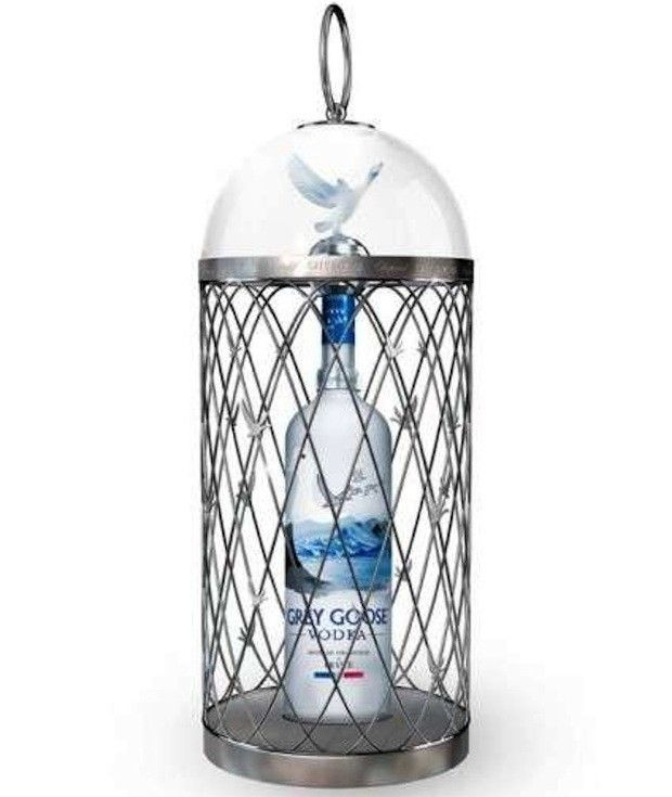 """Grey Goose Vodka""....Alone, you can probably score a bottle of Grey Goose Magnum for about $160 (not cheap, but not that crazy). However, put that alcohol in a bottle designed by Swiss jeweler Chopard, in addition to the silver cage the bottle comes with, and suddenly the price jumps to $815. However, those caged Grey Goose bottles were given a limited release, so if you want to pay over $800 for vodka in a fancy birdcage, you're going to have to act quickly."