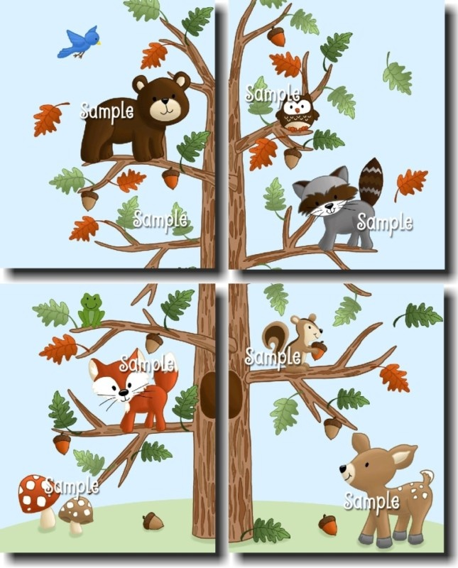 Set of 4 Forest Woodland Friends Bedroom Nursery Wall Decor. For my babies Nature themed room.