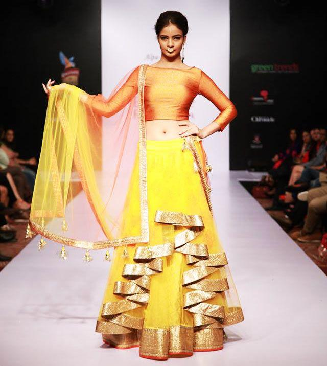 Yellow And Golden Alpa Reena Lehenga At Bangalore Fashion Week