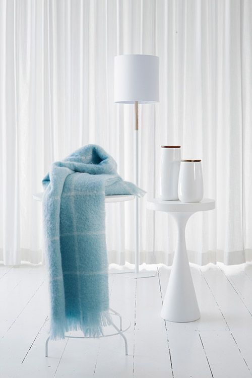 Mohair- Duck Egg Check. Never goes out of fashion. Soft, warm and a sustainable resource. ann@annmack.co.za