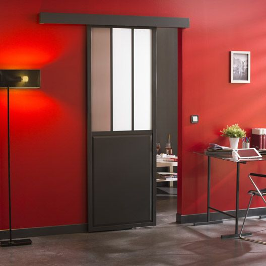ensemble porte coulissante atelier plaqu ch ne avec rail. Black Bedroom Furniture Sets. Home Design Ideas