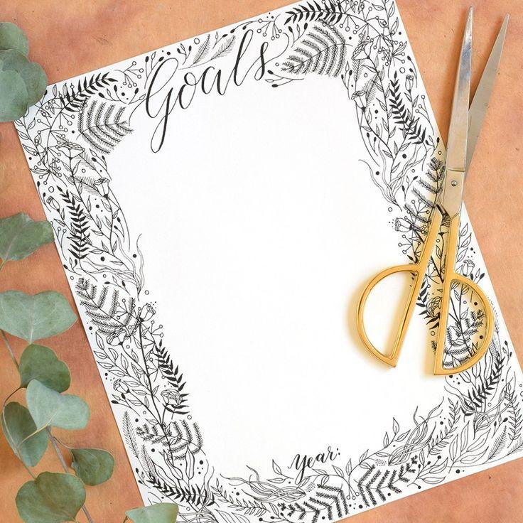 Printable Goal List with Botanical Border
