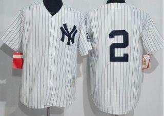 New York Yankees #2 Derek Jeter White Throwback Jersey