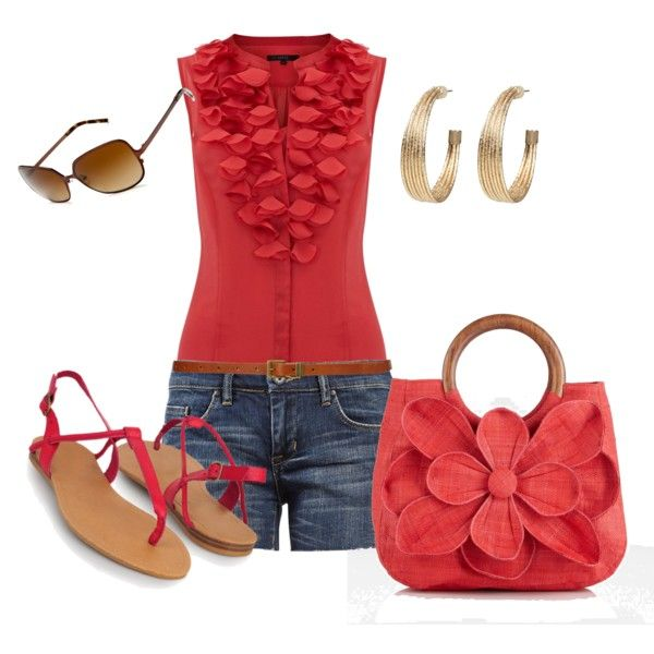 Red Ruffle Top and Flower Purse :)