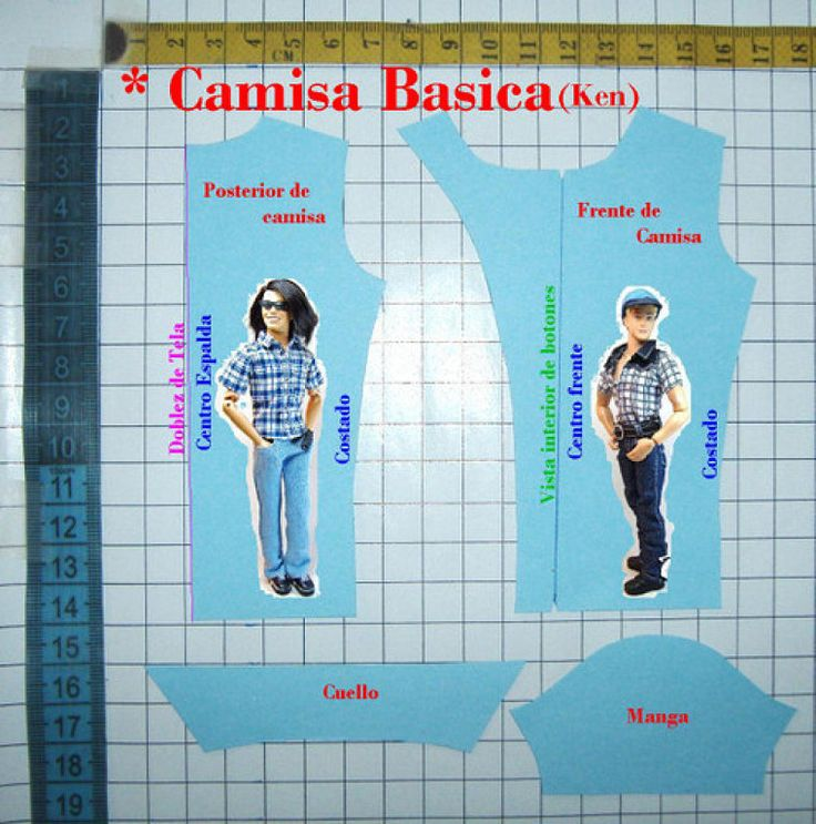 Ken shirt pattern {directions in Spanish, but sewers could use a translator like Google or Babelfish}.