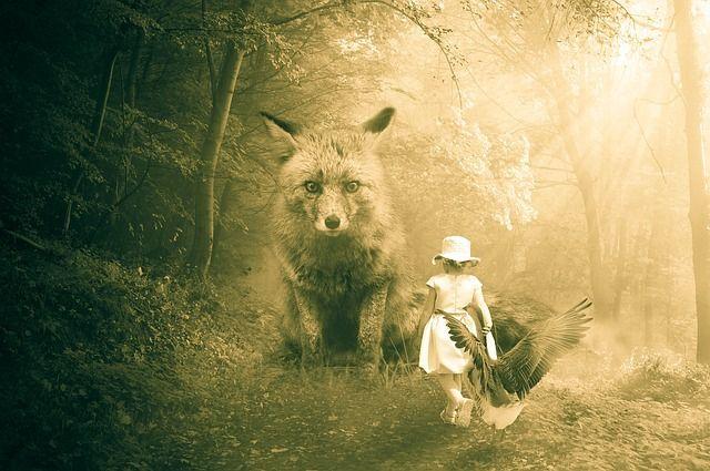 Sprookjes, Fuchs, Gans, Bos, Mythische Wezens