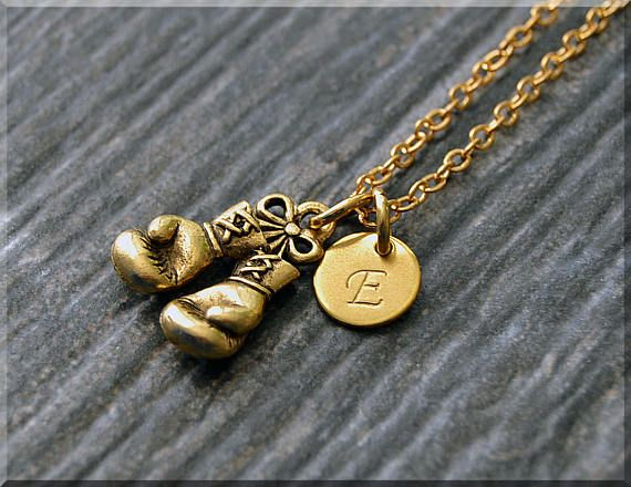 Gold Boxing Gloves Charm Necklace Initial Charm Necklace