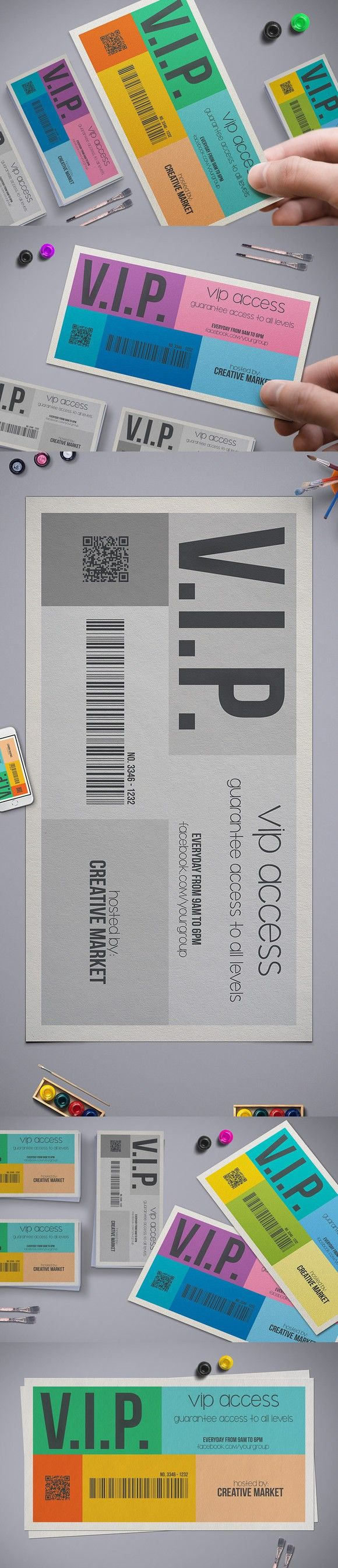 Metro Style Vip Pass Template. Creative Card Templates. $7.00