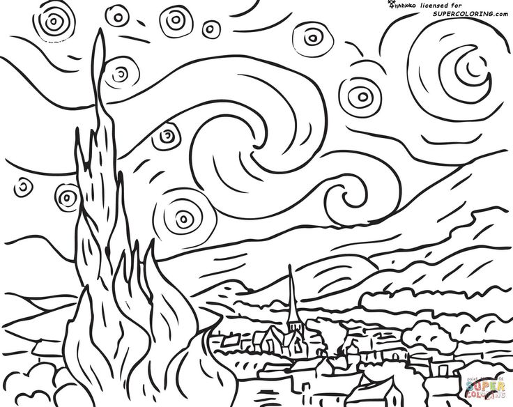 "A site with thousands of coloring pages, including famous paintings like Vincent van Gogh's ""Starry Night"". Description from pinterest.com. I searched for this on bing.com/images"