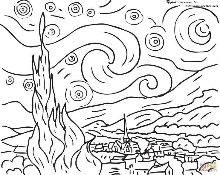 Noite estrelada, por Vincent Van Gogh | Super Coloring