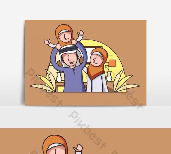 Terbaru 30 Gambar Kartun Keluarga Muslim Ilustrasi Keluarga Muslim Bahagia Elemen Grafik Ai Percuma Download Muslim Family Cartoon I Di 2020 Kartun Animasi Gambar