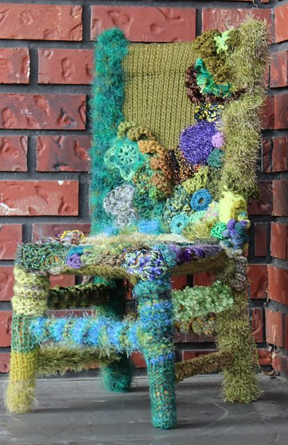 Knitted, Crocheted & Beaded Rainforest Chair.....wow, first I've ever seen like this!