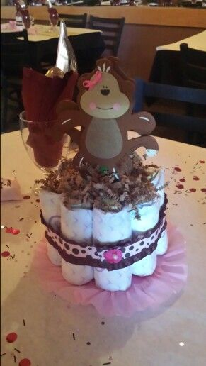 My daughter and I made these for our friends baby shower. Baby girl monkey theme