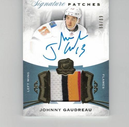 JOHNNY GAUDREAU UD THE CUP 15-16 AUTO PATCH SIGNATURE /99