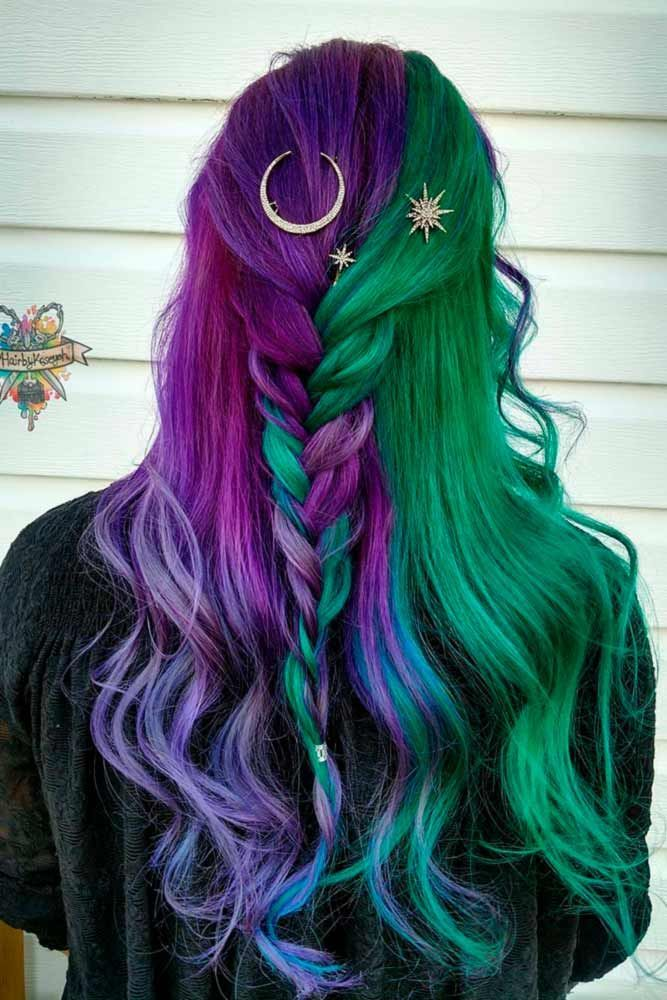 Hair Color 2017 2018 Violet Ombre Green In A Mix With Other Colors Purplehair When You Think About Purple Hair Dyed Hair Purple And Green Hair Hair Styles