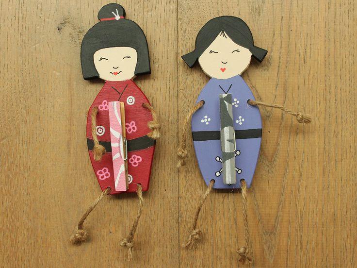 Wooden Japanese memodolls by Atelier de Creakoffer / Houten Japanse memopoppetjes door Atelier de Creakoffer